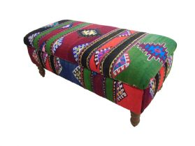 Handmade Kilim Covered Ottoman Chest